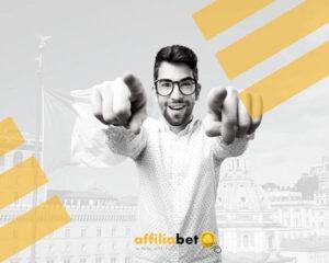 Hombre contento con el gambling italiano