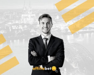 hombre serio con la regulación del juego en Alemania